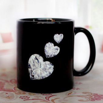 Beautiful Black Color Mug with Diamond Hearts