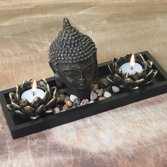 5 Inch Buddha Idol and 2 Diyas with Top View