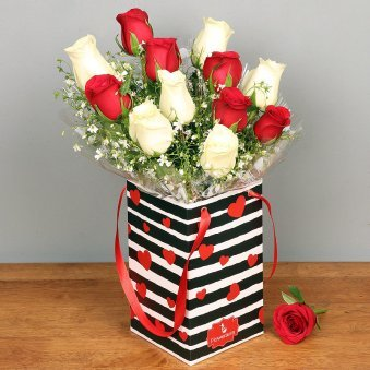 Red and White Roses Bunch in a Love Flower Box
