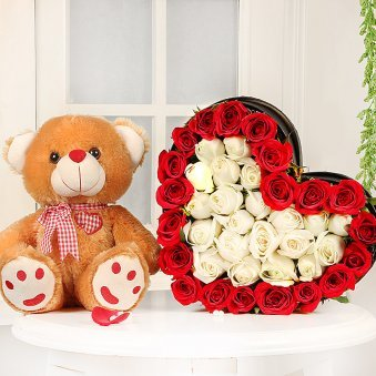 Heart Shaped Roses Arrangement with Teddy Combo