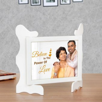 Love Quotient - Personalised Photo Frame Gift with Oblique View