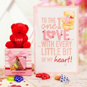 Love so Sweet - Card with Chocolate and Teddy