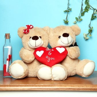 Teddy Couple with Love Note in Glass Bottle