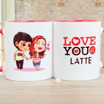 A Love Mug with Cartoon and Quote Printed