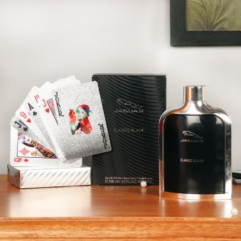 Jaguar Black Perfume with Silver Plated Deck of Cards