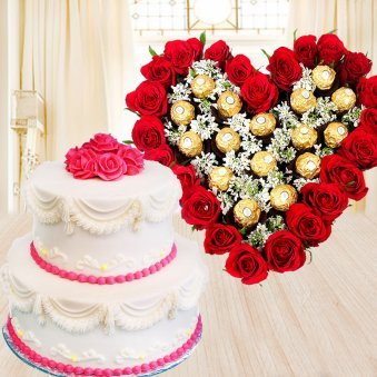 Majestic Beauty - Combo of 2 tier vanilla cake, heart shaped red roses bouquet and 16 ferrero rocher