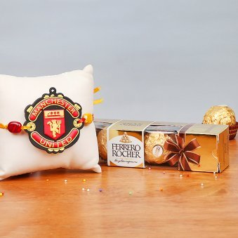 Manchester United FC Rakhi with Ferrero Rocher Chocolates Gift Combo