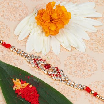 Maroon Mesmerizer Diamond Rakhi for Brother