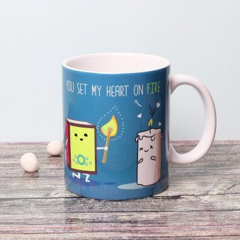Heart On Fire Printed Mug