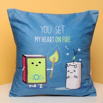 Heart On Fire Printed Cushion