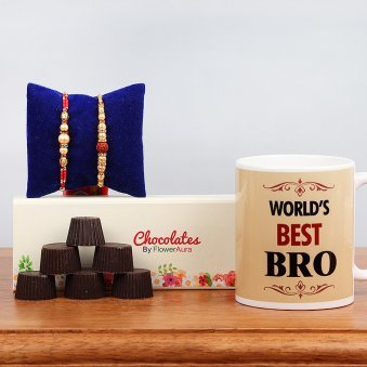 Two Rakhis with Six Handmade Chocolates and Printed Mug