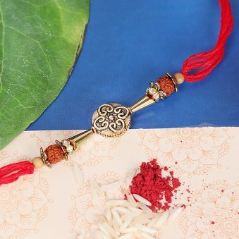 Metalic Rudraksh Rakhi for Brother