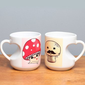Mushroom Love - A Love Printed Mug with Both Side View