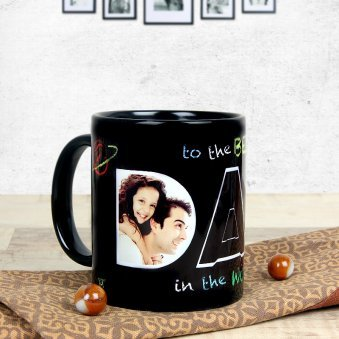 My Hero My Dad - Black Personalised Mug with Back Sided View