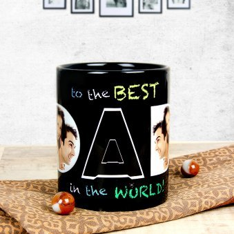 My Hero My Dad - Black Personalised Mug with Left Sided View
