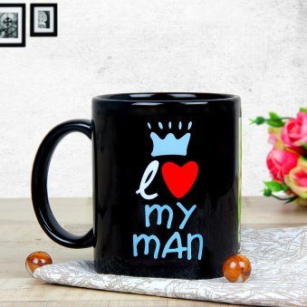 Personalised Black Coffee Love Mug with Back Sided View