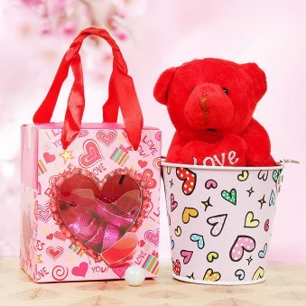 3 inch teddy with heart shaped chocolates combo