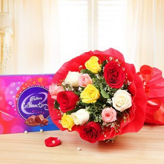 Paired Perfections - Combo of mixed roses bunch and celebrations pack