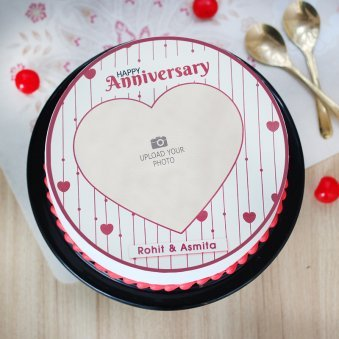 Marriage Anniversary Photo Cake - Top View
