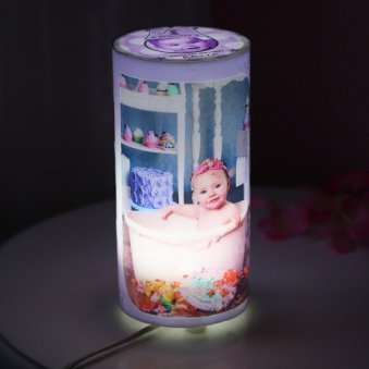 Cylendrical Personalised Lamp with 6 Images