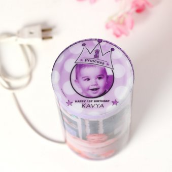 Cylendrical Personalised Lamp with 6 Images with Top View