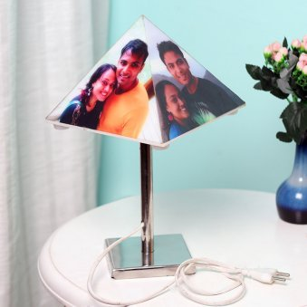 Pyramid Shaped Personalised Lamp with 4 Images in Normal View