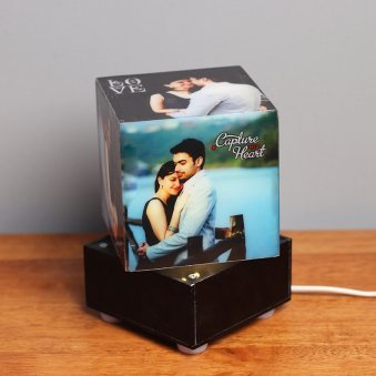 Square Shaped Personalised Lamp with 5 Images in Bright View