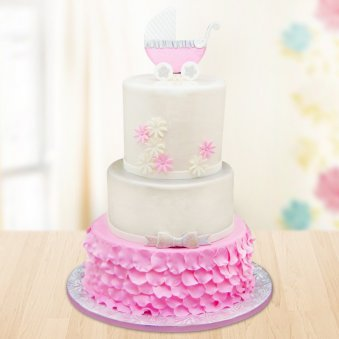 Three tier pink cradle cake for kids