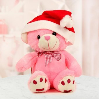 12 inches tall Pink teddy wearing a Santa cap - A cute Christmas gift