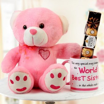"""World's best sister mug"" with sweet pink teddy and Ferrero rocher chocolate"