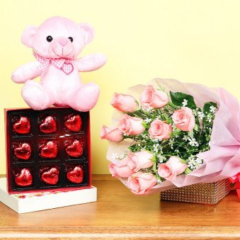 Combo of Pink Roses Bunch and Chocolates with Teddy