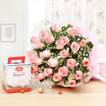 Sweet and Simple - Combo of 25 Pink Roses Bunch and 1 Kg Rasgullas