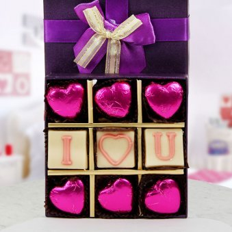 A pack of 9 I Love You handmade chocolates