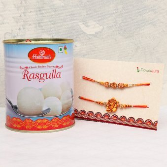 Two Divine Rakhis with One Kg Rasgulla Combo