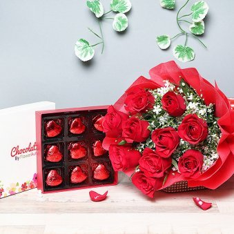 Combo of Red Roses Bunch and Chocolates