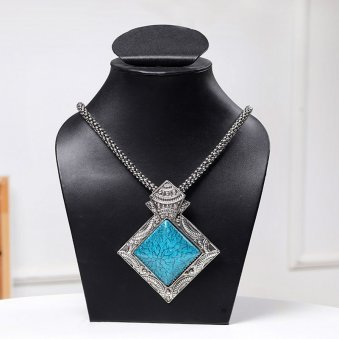 Blue Square Shaped Stone Neckpiece