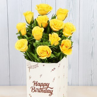 12 Yellow Roses Bunch for Birthday with Closed View