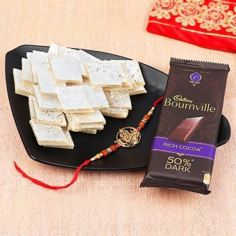 Krishan Rakhi and Bournville with Half Kg Kaju Katli