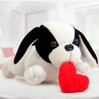A Soft Toy Puppy with Heart