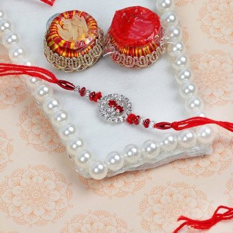 SilveRed Rakhi with Roli Tikka