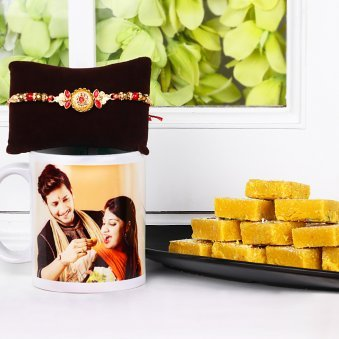 Rakhi with Personalised Mug and Sweets