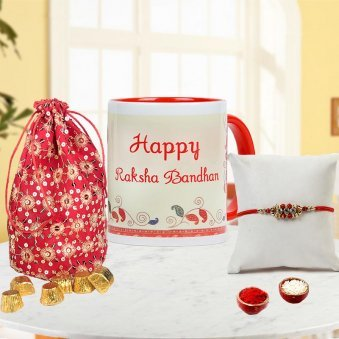 Send Rakhi to Gurgaon with Happy Rakshabandhan Mug and Handmade chocolates