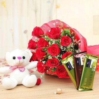 Snowed In Love - Combo gift of lovely 12 red roses bunch and 1 teddy