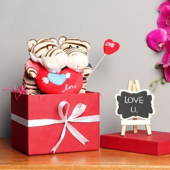 Love Soft Toy Couple with Love Stick in a Box