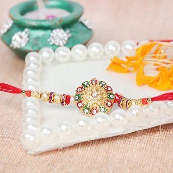 Stone Centered Rakhi with Diamond