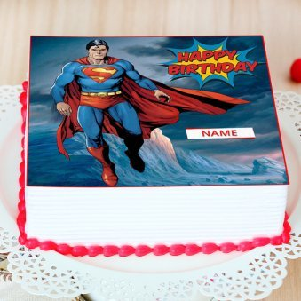 Superman Photo Cake For Boys - Top View