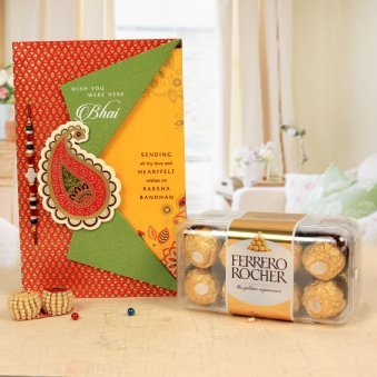Sweet Expressions - A Rakhi and Greeting Card Combo