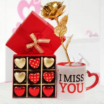 I Miss You coffee mug and Golden rose with pack of 9 heart shaped chocolates