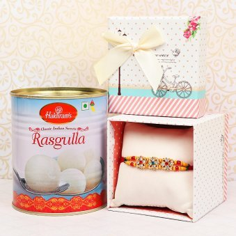 Rakhi with White Rasgulla Combo