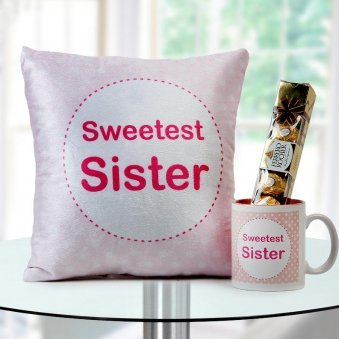 """Sweetest sister"" quoted velvet cushion and mug with Ferrero rocher chocolate"